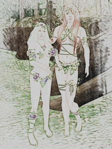 Gwyneth and Aoibheann were dressed in flowers.