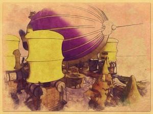 Up ahead, an airship.