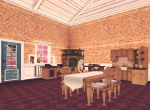 The treehouse has a large kitchen with a table that the Queen explained can be made larger or smaller depending on the number of people who need to sit there.