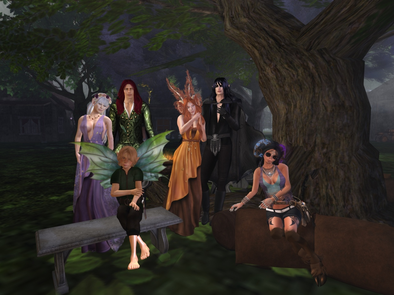 Some of the people who live in or are frequently found in Mysthaven: L-R: (back row) Gwyneth, Seelie Queen in Faerie; Nathanial, Mysthaven Steward and Queen's Consort; Aoibheann, Lost Rabbit and Lord Maric's Consort; Lord Maric, Lord of Mysthaven and by a strange twist of fate the current Unseelie King; (front row) Wren Darling, Fae Teen and Nathaniel's adopted daughter; Dyisi, Elder Satyr, Realm-Walker, teller of tales and talker of riddles.