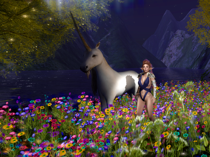 They dressed me up like a fantasy novel cover, and they grabbed the one tame unicorn on the grounds so I could practice tagging.