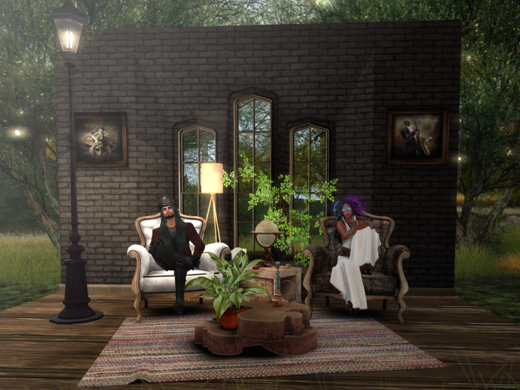 Dyisi quickly corrected the problem and we ended up in this bizarre living room somewhere in East Eclectica.