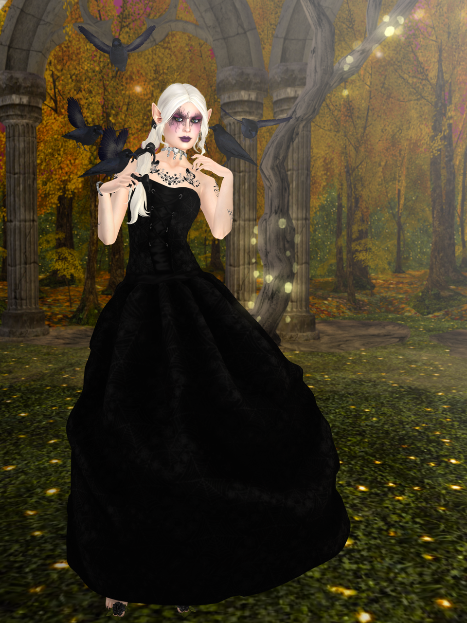 No sooner had they put the next dress on me than a small murder of crows appeared.
